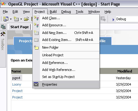 Using OpenGL and GLUT in Visual Studio